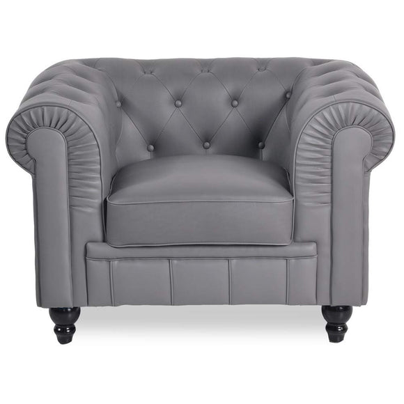 INTENSEDECO Fauteuil Chesterfield Regency Gris
