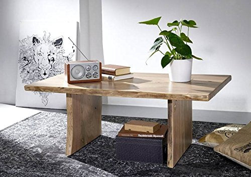 Table basse 120x70x45cm - Bois d'acacia laqué (Bois naturel) - Design naturel - LIVE EDGE #305