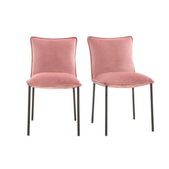 Miliboo Chaises Design Velours Rose (Lot de 2) Solace