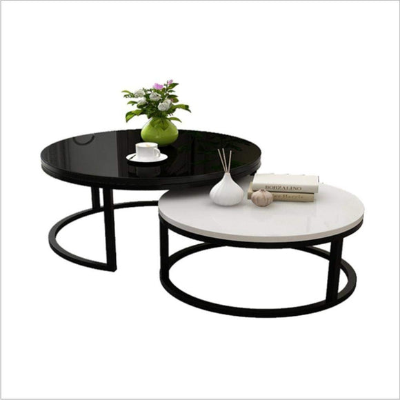 ASGON Design Table Verre métal 50 x 50 x 45 cm Noir Ensemble de 2 | Table du canapé Moderne | Table Basse en Verre Table | Table de Salon Rond@Or