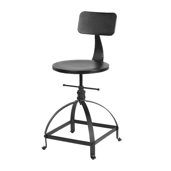 IKAYAA Tabouret de Bar Industrial en Métal Ajustable Hauteur Swivel Kitchen Dining Chair Backrest avec Sac à Dos Noir