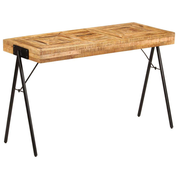 tidyard Table à Écrire Bois | Table de Bureau | Table Informatique Style Industriel en Bois de Manguier Massif 118 x 50 x 75 cm