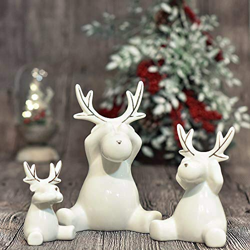 Valery Madelyn 3pcs Ensemble de décoration de Renne de Noël, Ornements en céramique de Figurines de Wapiti, décoration de Table (Hiver étincelant)