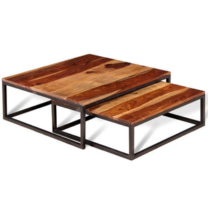 Festnight 2 pcs Ensemble de Table Basse Gigogne Style Rétro Bois de Sheesham Massif