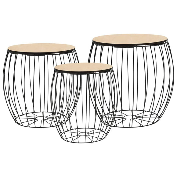 Festnight Tables gigognes Table Basse 3pcs Table de Salon Table Basse Design en Bois Massif Noir en Fer