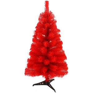 Zinsale Pin de 3ft / 90 cm Sapins de Noël Artificiel avec Support d'arbre Qualité Plastique Décoration d'arbre (Rouge)