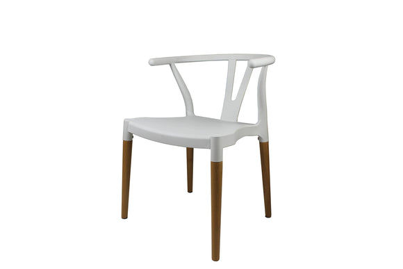 Decopresto 1 x Chaise Design Inspiration scandinave Pied Bois Naturel Siège Blanc DP-Wish-WH-1