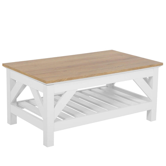 Beliani Table Basse Bois Clair/Blanc 100 x 60 cm Savannah