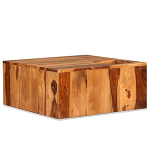 Tidyard Table Basse Bois | Table Basse Industriel | Table Console Bois Massif de Sesham 70 x 70 x 30 cm