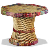 Festnight Table Basse en Bambou avec Détails Chindi Multicolore 60 x 60 x 45 cm