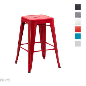 Duhome Tabouret de Bar métal au Design Industry Rouge empilable sélection de Couleurs Chaise en Fer rétro