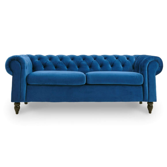 DecoInParis Canapé Chesterfield 3 Places en Velours Winston (Bleu)