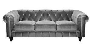 Mobilier Deco Canapé Chesterfield 3 Places Gris en Velours