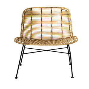 Bloomingville Chaise en rotin, naturel et noir