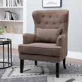 Homcom Fauteuil Chesterfield Vintage Grand Confort Dossier Assise capitonné avec Boutons Coussin Inclus Lin Taupe