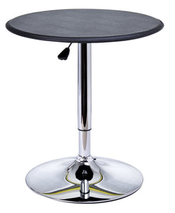 Table de bar table bistrot chic style contemporain table ronde hauteur réglable 67-93 cm Ø 63 cm métal chromé PVC noir