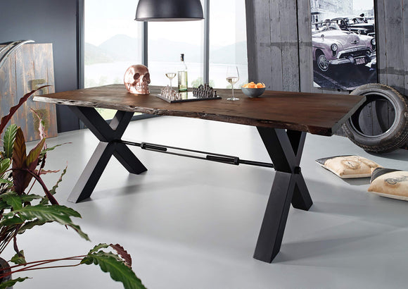 Table à manger 180x100cm - Bois massif d'acacia laqué (Brun/Anthracite) - IRON LABEL #100