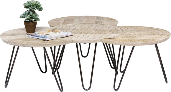 Kare Design - Set de 3 Tables d'appoints en Bois Clair Ethnique Puro