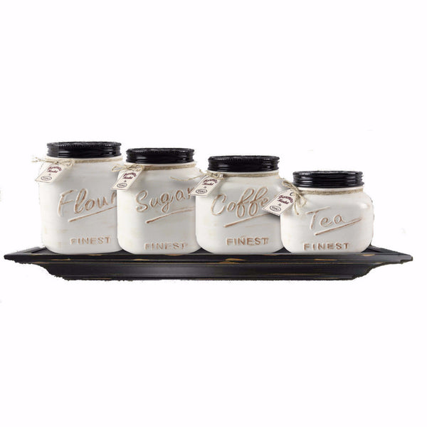 Off White Canister Mason Jar Set of 4 - ZallZo.com-Unique Home Decor