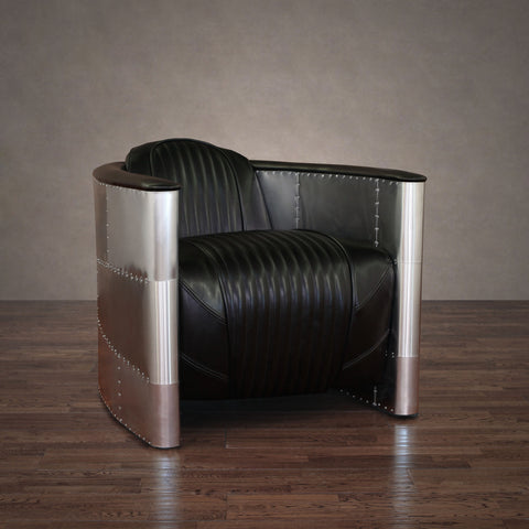 ZallZo Commander Leather and Aluminum Chair (2 Colors) - ZallZo.com-Unique Home Decor