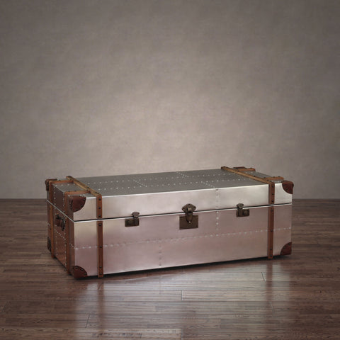 ZallZo Commander Aluminum Storage Trunk Coffee Table - ZallZo.com-Unique Home Decor