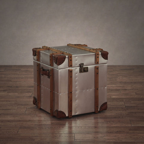 ZallZo Commander Alu Trunk Side Storage Table - ZallZo.com-Unique Home Decor