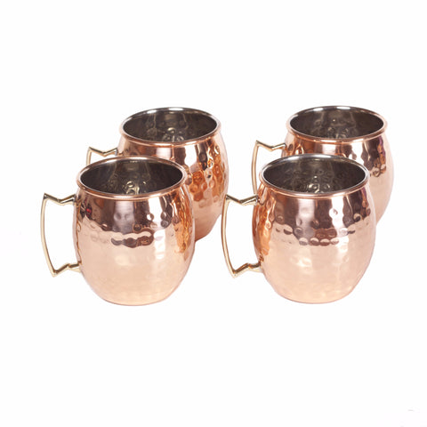 Round Hammered Polished Handmade Copper Mugs (Set of 4)