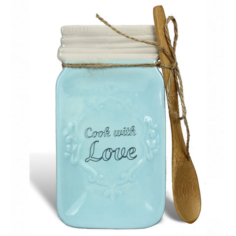 Blue Ceramic Mason Jar Spoon Rest (With Spoon)