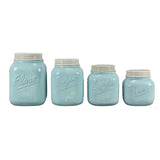 Blue Canister Mason Jar Set of 4