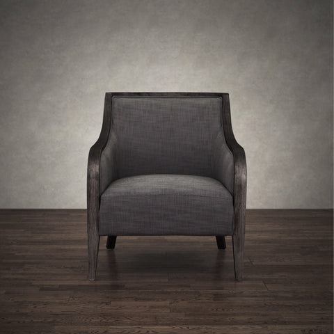 Beatrice Grey Linen and Birch Wood Lounge Chair by ZallZo