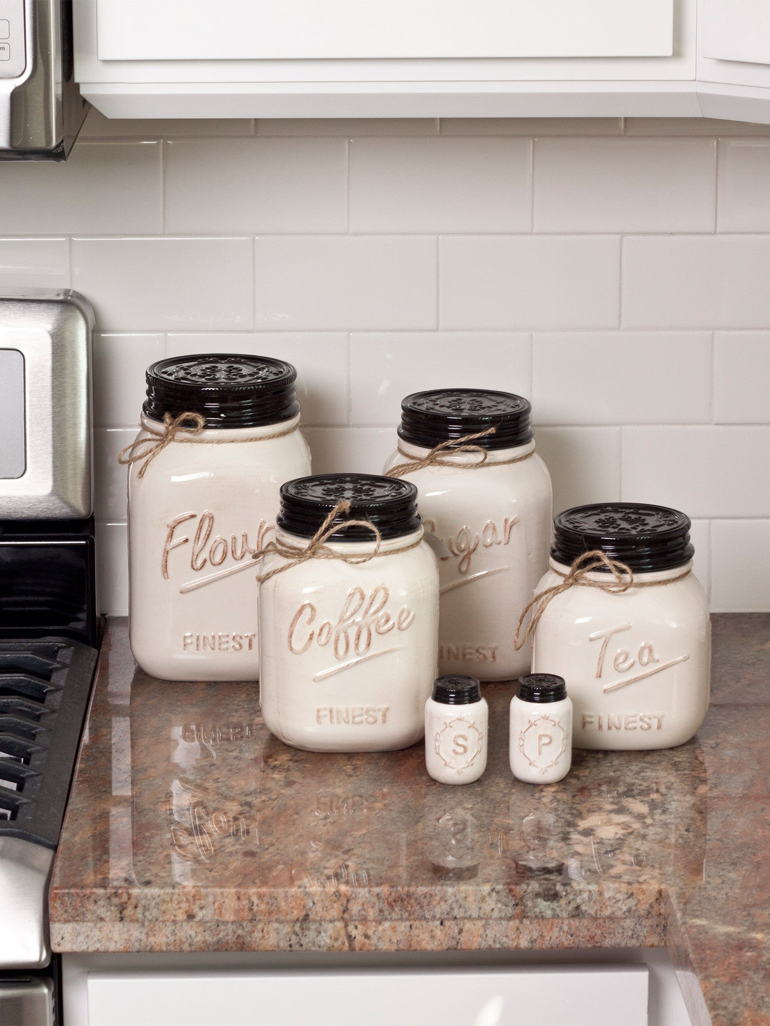 Off white canister mason jar set of 4 for Kitchen accessories sets