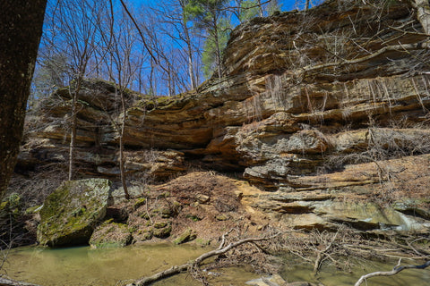 caves and rock shelters along north trail of portland arch nature preserve in indiana