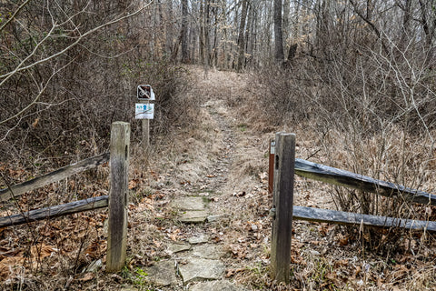 trailhead for ccc ghost trail in o'bannon woods state park