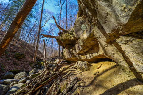 Rock shelter and cavern in boulder canyon along trail 9 in Turkey Run State Park Indiana
