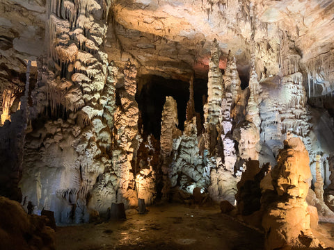 stalagmite rock formations within cathedral caverns state park alabama