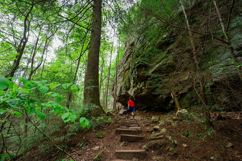 Hiking climbers loop in foster falls within south Cumberland State Park in Tennessee