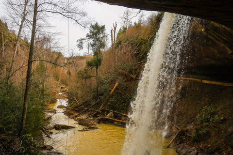 View from behind the waterfall of broke leg falls scenic area kentucky