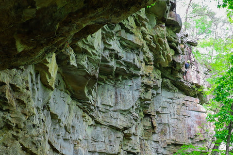 Rock climbing along Denny west in south Cumberland State Park in Tennessee