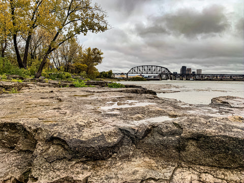 falls of the ohio state park with louisville skyline
