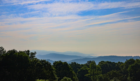 view of the blue ridge mountains from grayson highlands state park, virginia