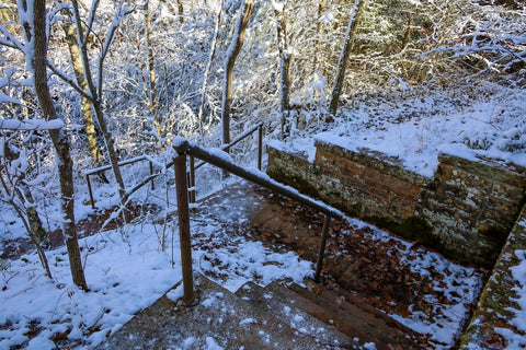 ice covered stairs in natural arch scenic area