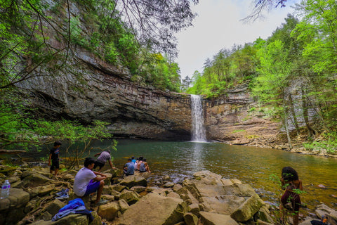 Foster falls waterfall swimming hole in south Cumberland State Park in Tennessee
