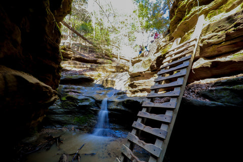 Climbing the ladders of trail 3 in Turkey run state park indiana