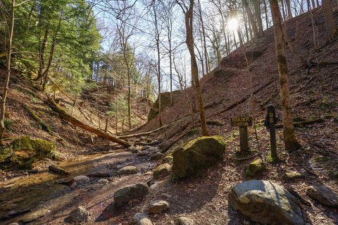 Hiking along boulder canyon on trail 9 in Turkey Run State Park Indiana