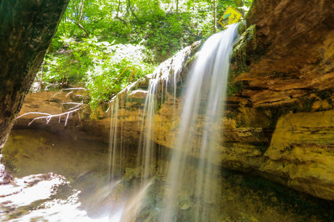cascades of tioga falls trail in fort knox kentucky