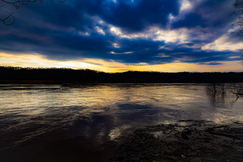 twilight over the ohio river in o'bannon woods state park