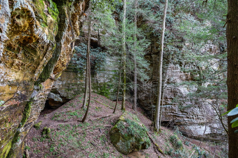 cave and rockshelters along henson's arch trail in natural bridge state park kentucky