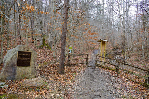 entrance to the john b. stephenson state nature preserve and anglin falls trail in kentucky