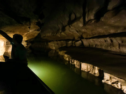underground boat tour in bluespring caverns indiana