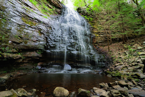 View of Denny cove falls waterfall in Denny cove within south Cumberland State Park in Tennessee